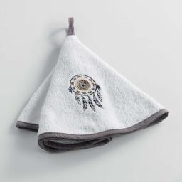 Essuie-main rond (0) 60 cm eponge brodee mandala plumes Blanc