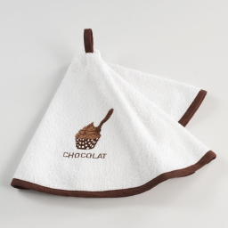 Essuie-main rond (0) 60 cm eponge brodee saveur Choco