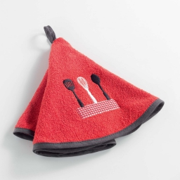 Essuie-main rond (0) 60 cm eponge brodee spatula Rouge