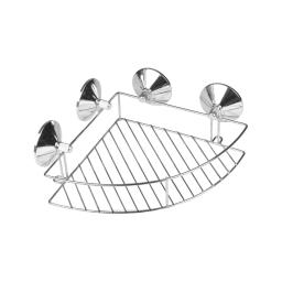 etagere de douche d'angle a ventouses fortes metal chromé