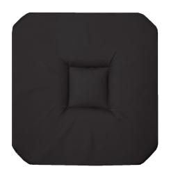 Galette 4 rabats 36 x 36 x 3.5 cm coton uni panama Noir
