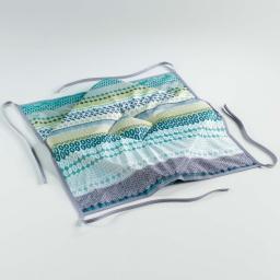 Galette 4 rabats 36 x 36 x 3.5 cm polyester imprime chacana Bleu