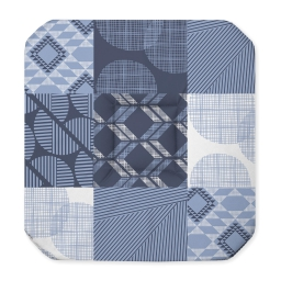 Galette 4 rabats 36 x 36 x 3.5 cm polyester imprime dalea Bleu