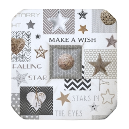 Galette 4 rabats 36 x 36 x 3.5 cm polyester imprime starly Blanc