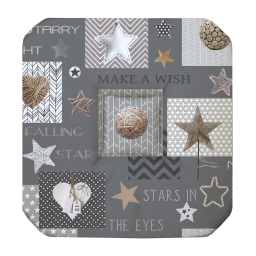 Galette 4 rabats 36 x 36 x 3.5 cm polyester imprime starly Gris