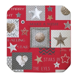Galette 4 rabats 36 x 36 x 3.5 cm polyester imprime starly Rouge