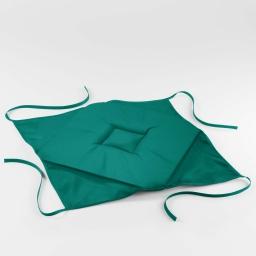 Galette 4 rabats 36 x 36 x 3.5 cm polyester uni essentiel Emeraude
