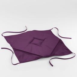 Galette 4 rabats 36 x 36 x 3.5 cm polyester uni essentiel Prune