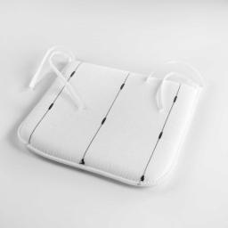 Galette 40 x 40 x 3.5 cm jacquard bicolore filio Blanc
