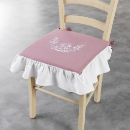 Galette +volant 40 x 40 x 3 cm polyester brode bonheur Rose/Blanc