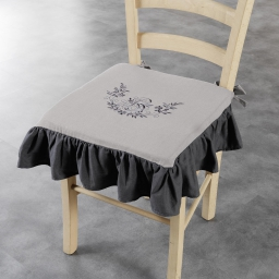 Galette +volant 40 x 40 x 3 cm polyester brode bonheur Taupe/Anthracite