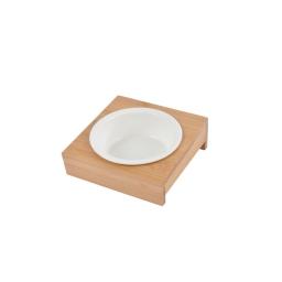 Gamelle ceramique + support bambou naturel- ø12cm 14*14cm Blanc