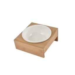 Gamelle ceramique + support bambou naturel ø16cm 18*20cm Blanc
