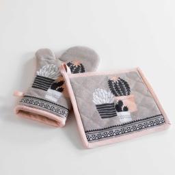 gant + manique 17 x 28 cm/20 x 20 cm coton imprime carlota