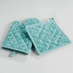 Gant + manique 17 x 28 cm/20 x 20 cm coton imprime lucie Menthe