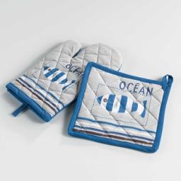 gant + manique 17 x 28 cm/20 x 20 cm coton imprime oceany