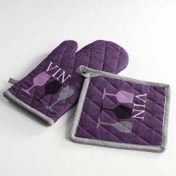Gant + manique 17 x 31 cm/20 x 20 cm coton imprime cave a vin Violet