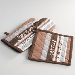 Gant + manique 17 x 31 cm/20 x 20 cm coton imprime saveur Choco
