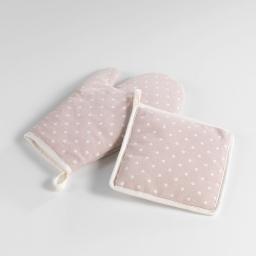 Gant+ manique 19 x 28 cm/18 x 18 cm polycoton imprime alicia Rose/Blanc