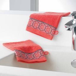 Gants de toilette /2 15 x 21 cm eponge unie jacquard adelie Corail