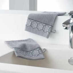 Gants de toilette /2 15 x 21 cm eponge unie jacquard adelie Gris