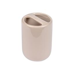gobelet porte-brosse a dent ceramique vitamine taupe