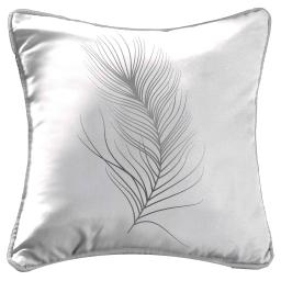 Housse coussin +encart 40 x 40 cm polyester imp. argent adelys Blanc