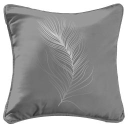 Housse coussin +encart 40 x 40 cm polyester imp. argent adelys Gris