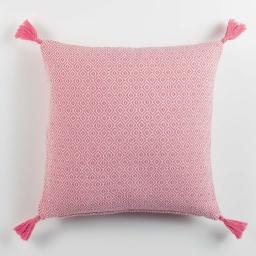 Housse coussin pompons +encart 40 x 40 cm coton tisse merina Corail