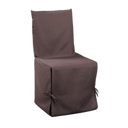 Housse de chaise nouettes 50 x 50 x 50 cm polyester uni essentiel Brun