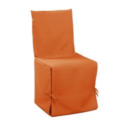 Housse de chaise nouettes 50 x 50 x 50 cm polyester uni essentiel Mandarine