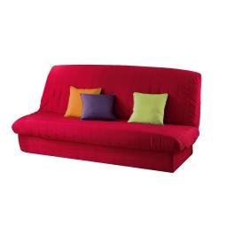 Housse de clic clac mat. 120 à 140 cm - 185 à 200 cm polye. uni essentiel Rouge