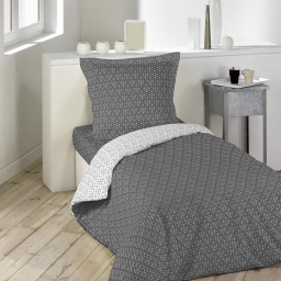 Housse de couette 1 pers 140 x 200 cm imp. 57 fils allover optic anthra/blanc Anthracite/Blanc