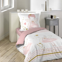 Housse de couette 140 x 200 cm + 1 taie d'oreiller 100% coton  42 fils allover rosaline