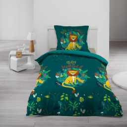 Housse de couette 140 x 200 cm + 1 taie d'oreiller 100% coton  57 fils petit lion