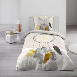 Housse de couette 140x200 cm + 1 taie d'oreiller 100% coton  42 fils dessin place boho