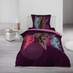 Housse de couette 140x200 cm + 1 taie d'oreiller 100% coton 42 fils dessin place delia