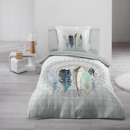 Housse de couette 140x200 cm + 1 taie d'oreiller 100% coton  42 fils dessin place inaji