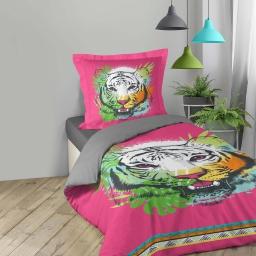 Housse de couette 140x200 cm + 1 taie d'oreiller 100% coton  42 fils dessin place tigresse