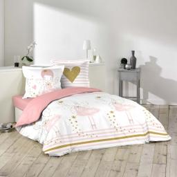 Housse de couette 200x200 cm + 2 taies d'oreiller 100% coton  42 fils allover rosaline