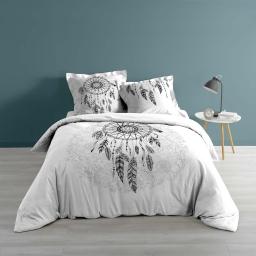 Housse de couette 220x240 cm + taie d'oreiller 100% coton 57 fils dessin place ista Blanc