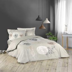 Housse de couette 240 x 220 cm + 2 taies d'oreiller 50x70 cm100% coton  42 fils dessin place nature charme