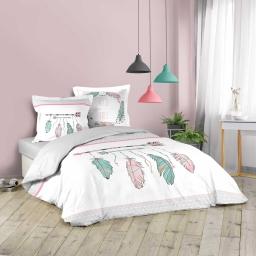 Housse de couette 240x200 cm + 2 taies d'oreiller 100% coton 42 fils dessin place ete indien Blanc