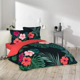 Housse de couette 240x220 cm + 2 taies d'oreiller 100% coton 42 fils dessin place haiti