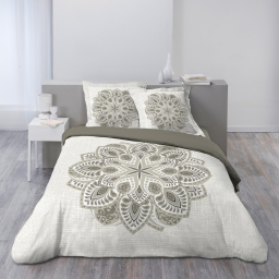 Housse de couette 260x240 cm + 2 taies d'oreiller 100% coton 42 fils dessin place alcobe