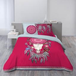 Housse de couette 260x240 cm + 2 taies d'oreiller 100% coton 42 fils dessin place chenoa