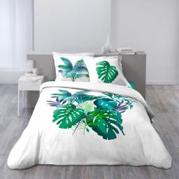 Housse de couette 260x240 cm + 2 taies d'oreiller 100% coton 42 fils dessin place hawaii