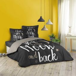 Housse de couette 260x240 cm + 2 taies d'oreiller 100% coton 42 fils dessin place love back