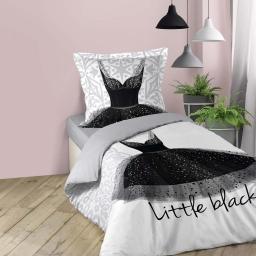Housse de couette enfant fille 140 x 200 cm imprime Black dress