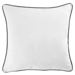 Housse de coussin +encart 40 x 40 cm coton uni panama Blanc/Ardoise